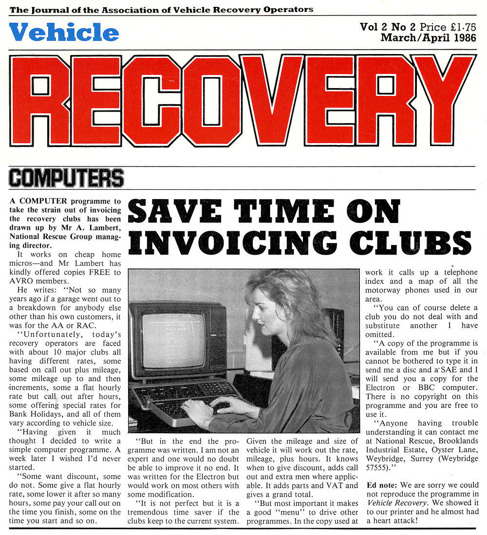 Association of Vehicle Recovery Operators AVRO news from 1986 dealing with Control Room Technology