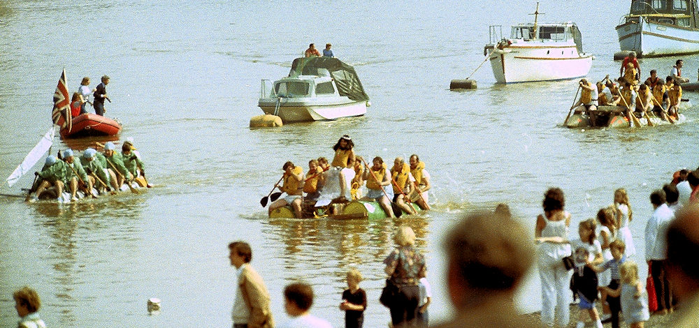 Metropolitan Traffic Police raft race for Falklands charity in the eighties